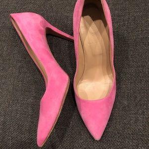 J.Crew D'Orsay Pink Suede Heels